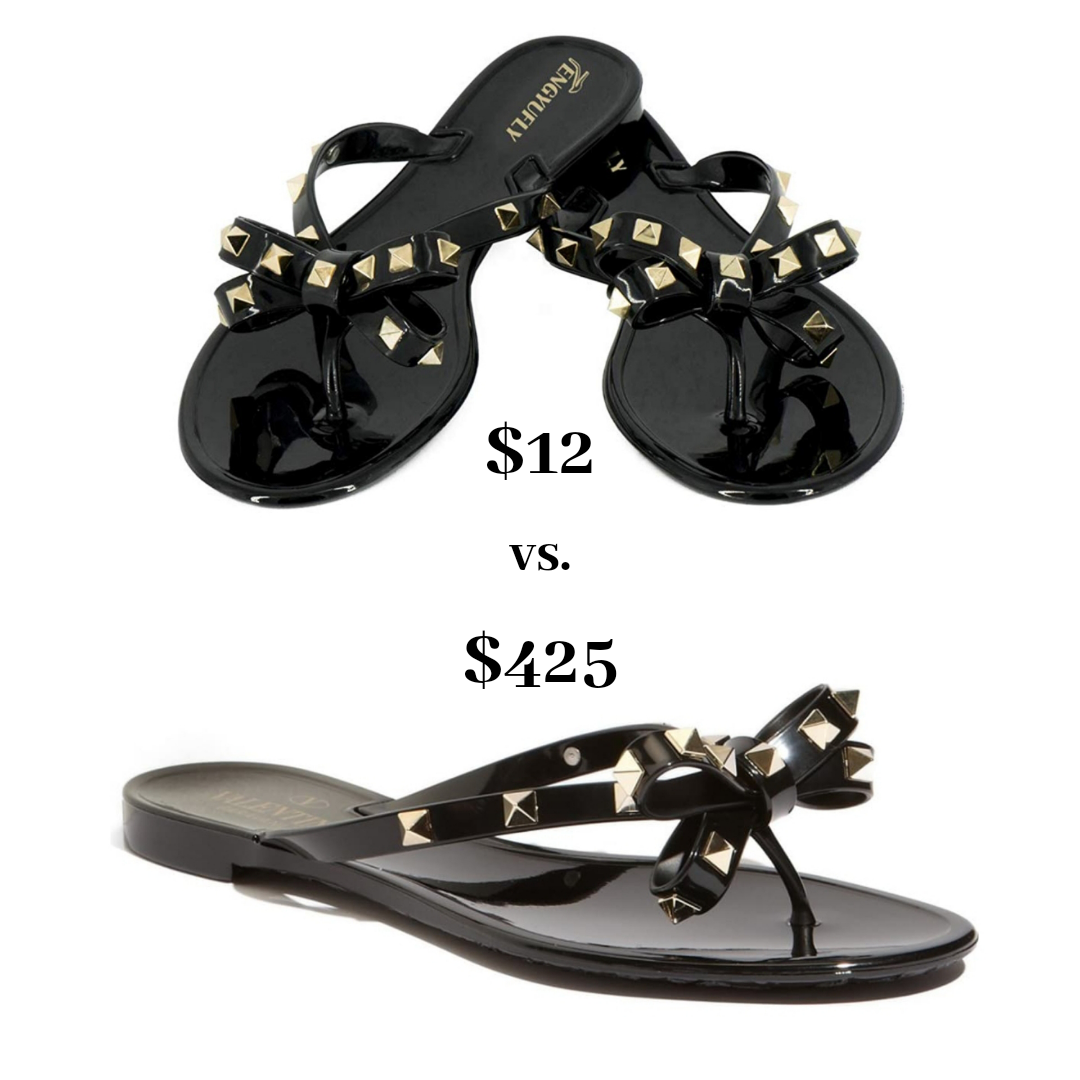 Top Orlando Fashion Blogger, Fabulously Overdressed, shares the best 5 Designer Dupes from Amazon: Valentino rockstud jelly thong