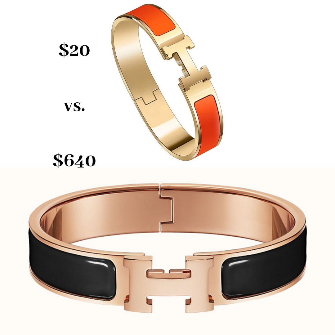 Top Orlando Fashion Blogger, Fabulously Overdressed, shares the best 5 Designer Dupes from Amazon: Hermes Clic H bracelet dupe