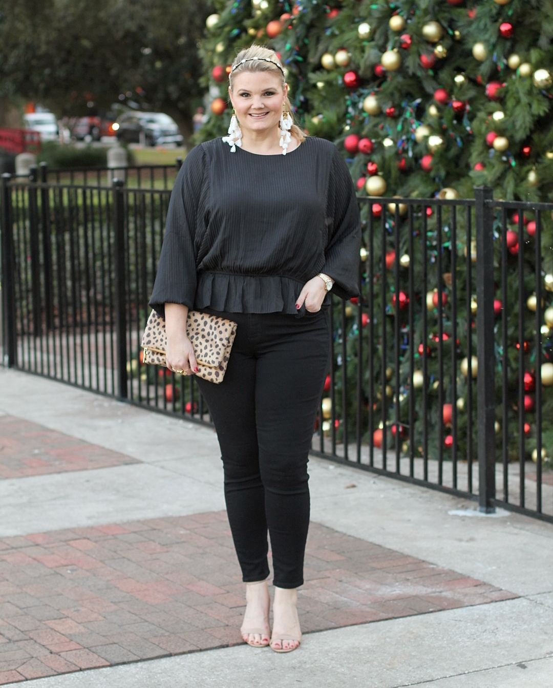 1.State outfits featured by top Orlando fashion blog, Fabulously Overdressed: image of a woman wearing a 1.State shadow stripe blouse
