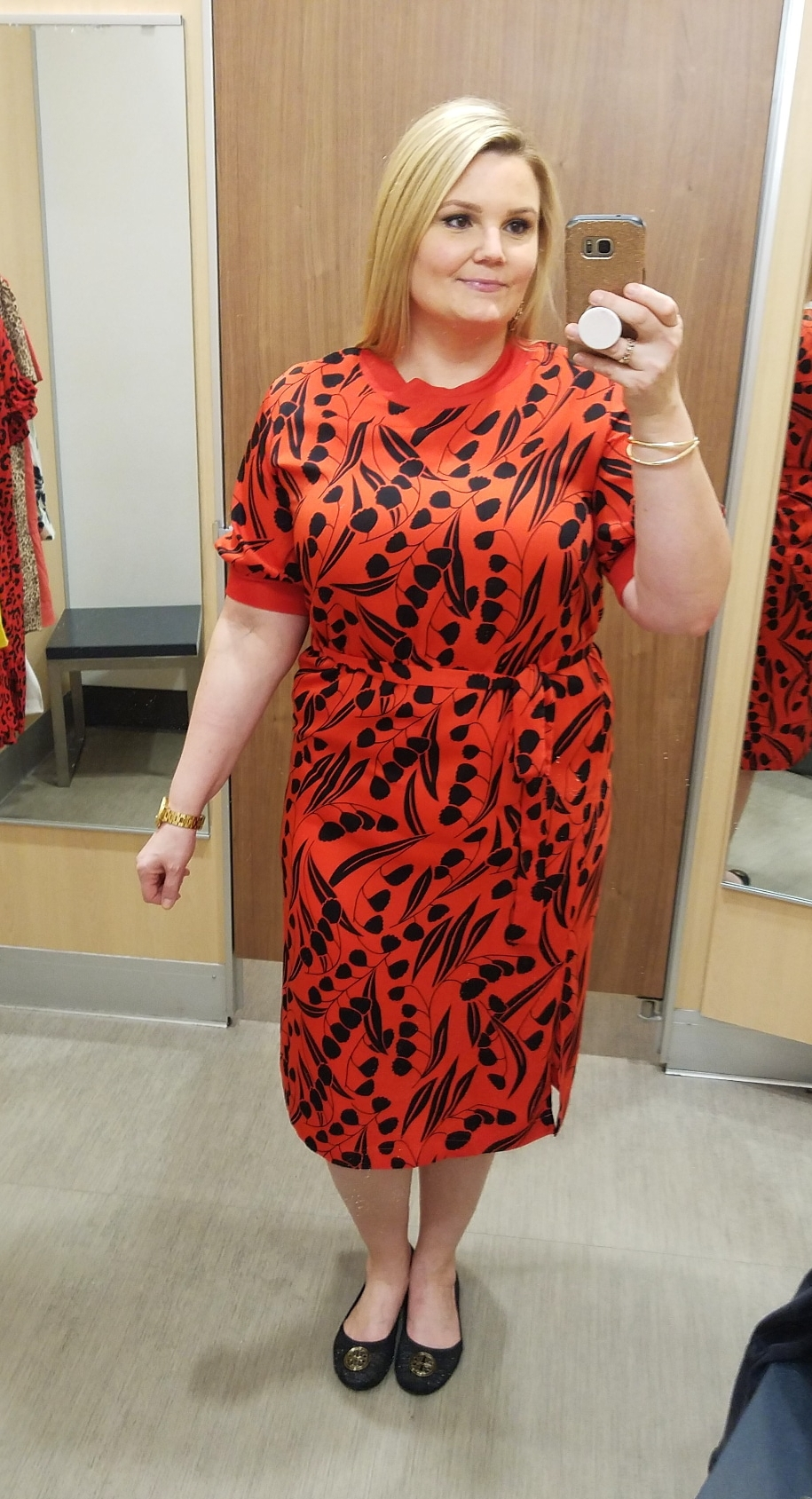 Orlando blogger Emily of Fabulously Overdressed shares this high neck A-line spring dress from Target.