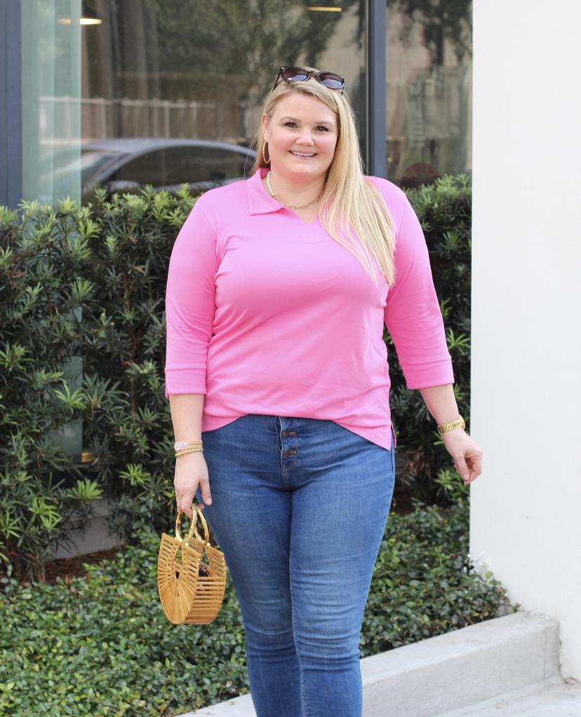Blogger Emily of Fabulouslyoverdressed.com models the Tisha Soft Pima Cotton top by Navy Jane plus size clothing