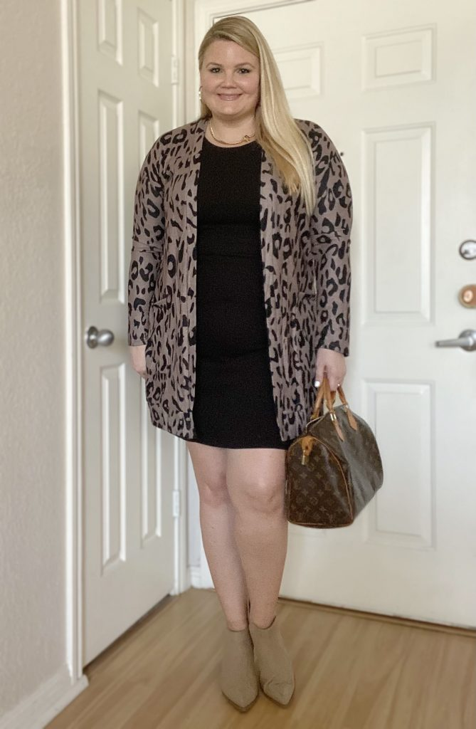 Leopard cardigan with black dress fabulously overdressed