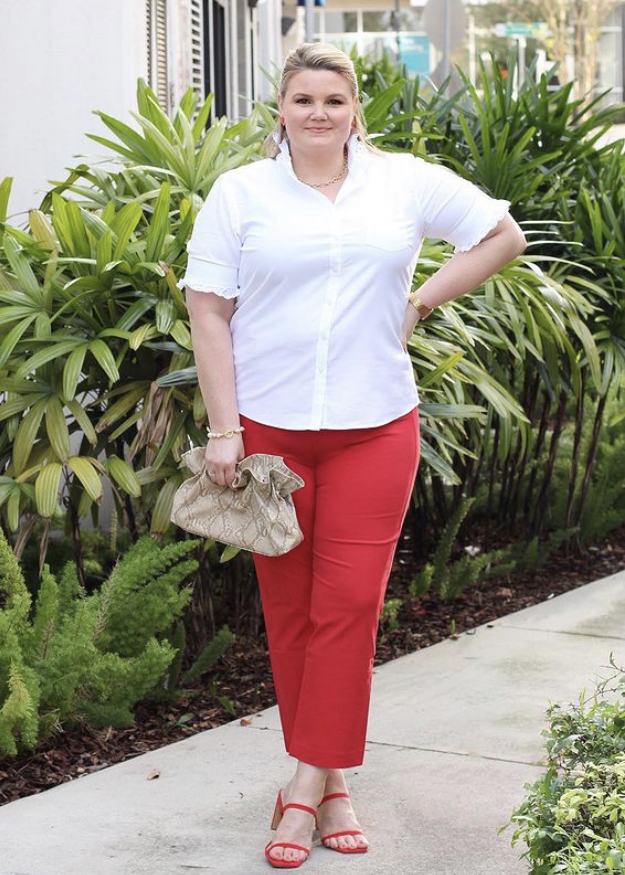 White blouse with red pants outfit fabulously overdressed