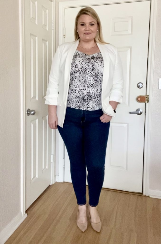 White blazer and jeans outfit fabulously overdressed