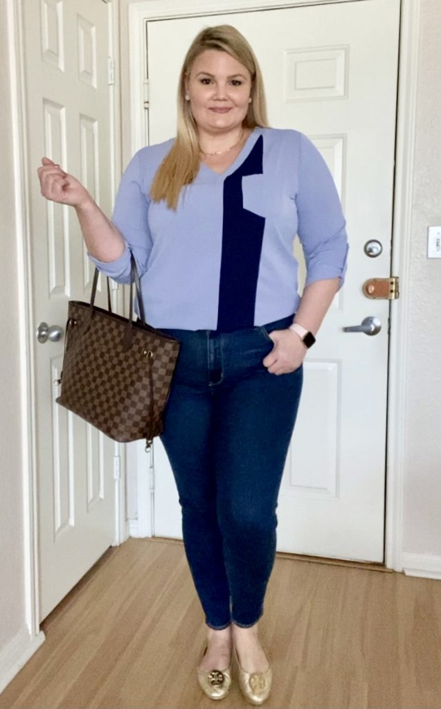 Colorblock blouse and jeans outfit fabulously overdressed