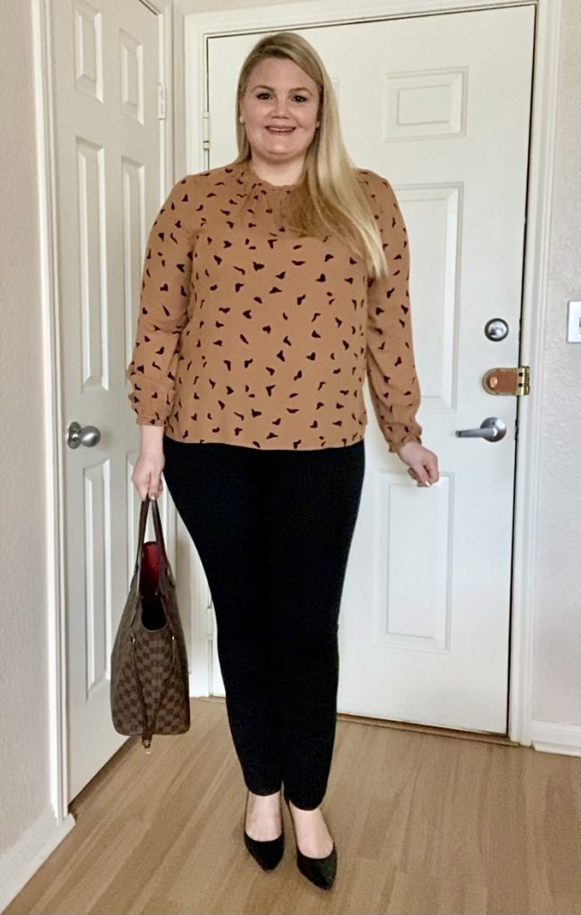 Blouse with black pants work outfit fabulously overdressed