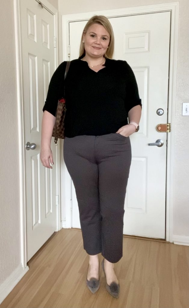 Black blouse and gray pants office outfit fabulously overdressed